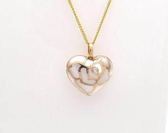 """Rosy Heart- 18K Rose Gold Mother of Pearl Diamond Rose Heart-Shaped Small Pendant- Deliver """"I Love You"""" message to your dear"""