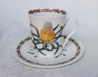 Australian Wildflower Collection Cup and Saucer, Orange Wooly Banksia Mug and Plate, Australian Bone China by Philippa Nikulinsky