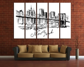 Large Wall New York Cityscape Canvas Brooklyn Bridge Multipanel Canvas NY View Canvas Art Large  1-3-4-5 Panel Drawing New York
