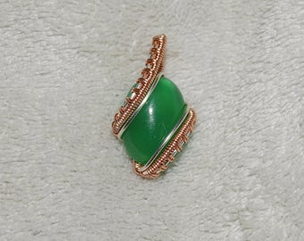 Silver and rose gold pendant with green agate.Bohochic pendant, gemstone pendant, unique pendant