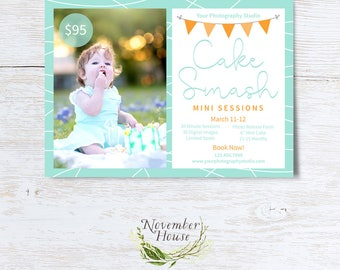 Cake Smash Mini Session Template, PSD Flat Card, Child Photography Marketing Board, 5x7 Layered Photoshop Template, Instant Download