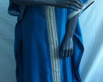 Caftan, Kaftan, gandoura, Moroccan dress in satin blue sfifa