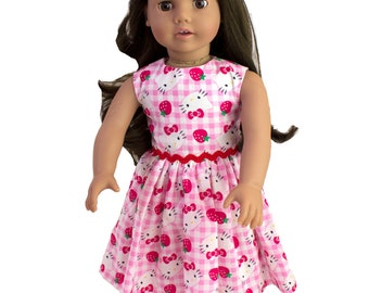 Made to fit all dolls like American Girl 18 inch doll clothes Doll Hello Kitty  This Hand Made doll dress in Hello Kitty print cotton fabric