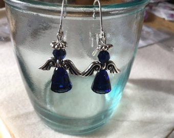 Swarovski Indigo Blue Angel Earrings