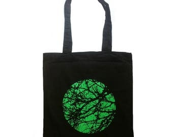 screen printed tote bag, shopping bag, cotton tote, tree bag, tree, nature