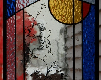 The Morning Garden - a stained glass and wire art panel