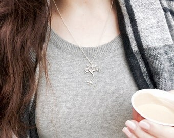 Stay Focused // NEURON Necklace in Silver // Medicine Necklace, Neurology Necklace, Neuroscience Necklace, Graduation Necklace
