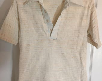 Mens 1970s White and Peach Polo/sport shirt
