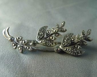 Vintage Marcasite Brooch Pin Leaf Brooch Flower Brooch Vintage Brooch 1950s Brooch Silver Tone Brooch