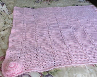 Baby Blanket Pink, pink doudou, covers-stroller pink, covers-cradle pink, pink blanket with rosette gift baby crochet