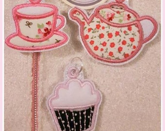 Digital File: 3 Time for Tea zip pulls/Bag Charms. ITH. 4x4