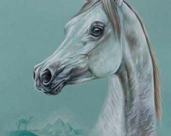 Horse Art ORIGINAL Horse Wall Art Equine mansion decor Horse Painting Realistic Arabian Horse Realistic