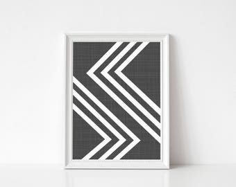 Geometric Art Print, Geometric Art Poster, Large Poster, Minimal Art Decor, Black and White Print, Art Decor