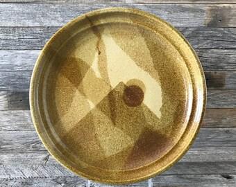Vintage Studio Pottery Platter, Stoneware Platter, Stoneware Dinner Plate