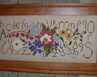 Summer Bouquet Cross Stitch Sampler