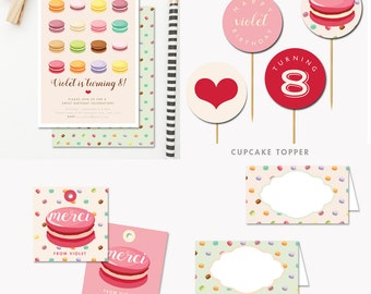 Macaron Party Kit Pink French Macaron Social (Pink) DIY. Digital file