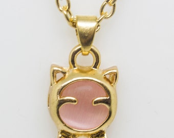 Pink cat choker necklace mother sister gift for her mothers day