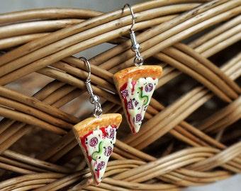 Pizza Eardrop Food slice earrings