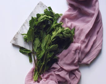 raspberry wine plant dyed sheer silk table runner