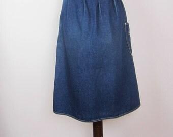 Vintage 80s 90s Acid Wash Denim Jeans A line skirt Small