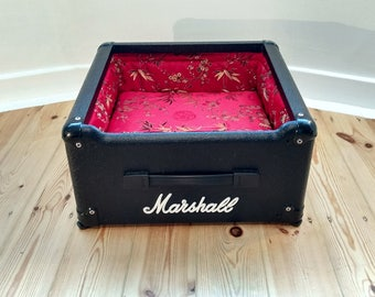 Up-cycled Marshall guitar amp, into unique, stylish red satin toy dog/cat bed.