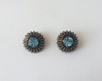 Vintage 1940's Aquamarine Blue Diamanté Rhinestone Ridged Chocolate Clip On Earrings March Birthstone