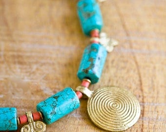 Turquoise and Indian Brass Spiral Necklace