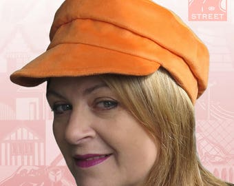 Orange fisherman cap fiddler cap peaked cap newsboy cap vegan suede