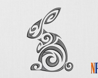 INSTANT DOWNLOAD - Tribal Rabbit machine embroidery design. Patterned Rabbit embroidery. Embroidery file