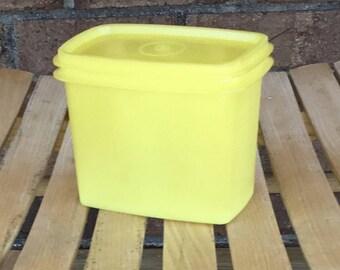 Shelf Saver Container / Tupperware Shelf Saver / Yellow / Stackable Containers, Vintage Tupperware 1243 1244, Retro / Kitchen rectangular
