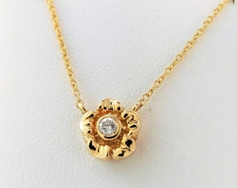 14k Yellow Gold Diamond Necklace / Dainty Flower Charm Necklace