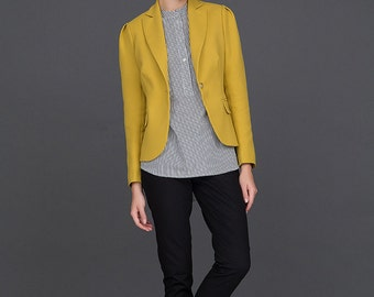 Womens Blazer / Yellow Blazer / Womens Jacket / Slim Fit Blazer by BATTIBALENO / V857