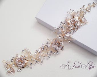 Bridal Hair Vine, Hair Wreath, Wedding Hair Vine, Gold-Rose Gold Hair Piece, Bridal Headpiece