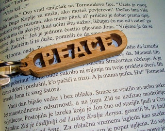 Handmade Peace Wooden Keychain, Scroll Saw, Natural, Wooden words, Gift for Her, Gift for Him, Valentine's Day Gift, Birthday Gift