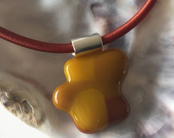 Glass pendant-jewelry-gift woman-gift women-birthday-exclusive pendant-dutch design-glass art-Spectrum glass beige-Brown (with SIDE chain)