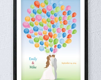 Rainbow Balloon Couple Wedding Guest Book Alternative Poster, Digital, Custom