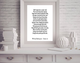 Shakespeare print, Love Poem, Unique Wedding Gift, Sonnet 18, Shall I Compare Thee to a Summer's Day, Love Poetry Art, Gallery Wall Idea