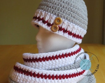 Entire nest egg. Tuque Pompom and scarf. Baby, child, adult. Custom main.Commande fact