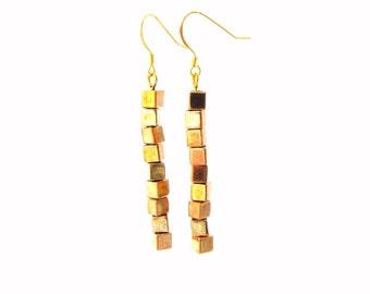 Boho earring Dangle earring Geometric earring Simple earring Gold cube earring Gold stick earring Gold geometric jewelry Simple jewelry