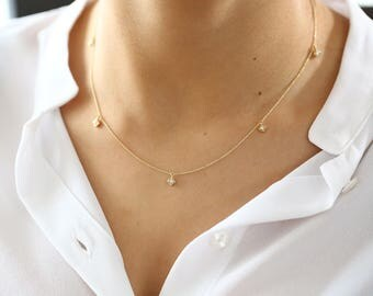 Diamond Solitaire Necklace/ Diamond Chain/ Diamond By The Yard/5 Station Micro Prong Diamond Necklace/ Dainty Diamond Solitaire Necklace/