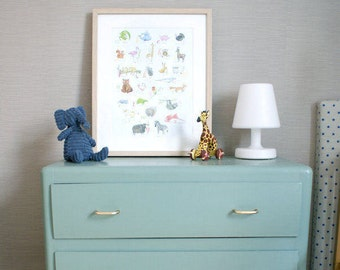Animals illustrated ABC poster