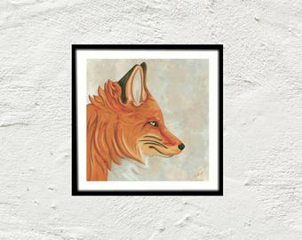 Fox - Fox portrait painting displays red profile - reproduction art print painting - digital painting