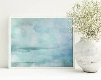 Living room wall art - Blue home decor - Turquoise art prints - Beach print - Sea photo - Pastel wall art - Clouds print - Downloadable art