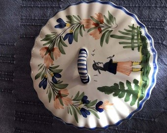 Fabulous vintage Quimper cheese plate cover