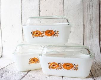 Pyrex Triangle Orange Flowery Dishes Set Of 3 - Retro Kitchen Storage