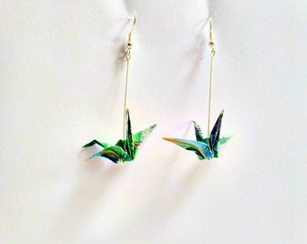 Floating World Origami Crane Earrings Blue & Green or Red + Black