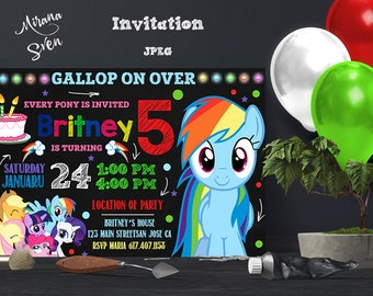 My Little Pony Birthday Invitation, My Little Pony Birthday, My Little Pony Invitation, My Little Pony Party, My Little Pony