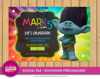 Trolls birthday invitation branch, trolls birthday card, trolls invitation card, troll party supplies, Troll Digital Invitation, Printable