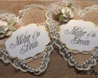 Two Burlap Mother of The Bride Corsage and Mother of The Groom Corsage Bridal Party Corsage
