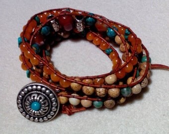 Rust Colored Leather Five Wrap Bracelet